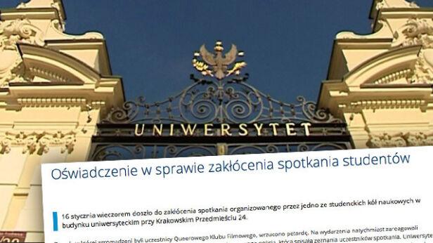 Uniwersytet Warszawski o incydencie tvnwarszawa.pl/UW