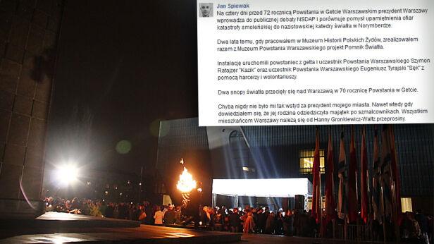 Śpiewak o pomniku MHŻP / Facebook.com