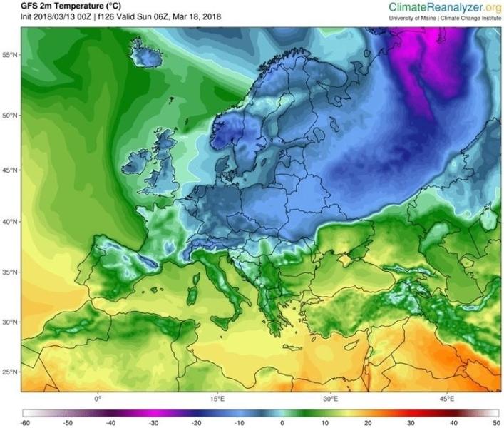 Temperatura w niedzielę rano. Spadek do -10 st. C według modelu GFS/University of Maine