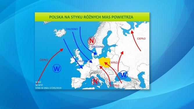 Polska na styku różnych mas powietrza